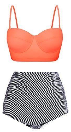Angerella Pin Up High Waist Swimsuit Bikinis Swimwear Bathing Suit(BKI031-O1-3XL)