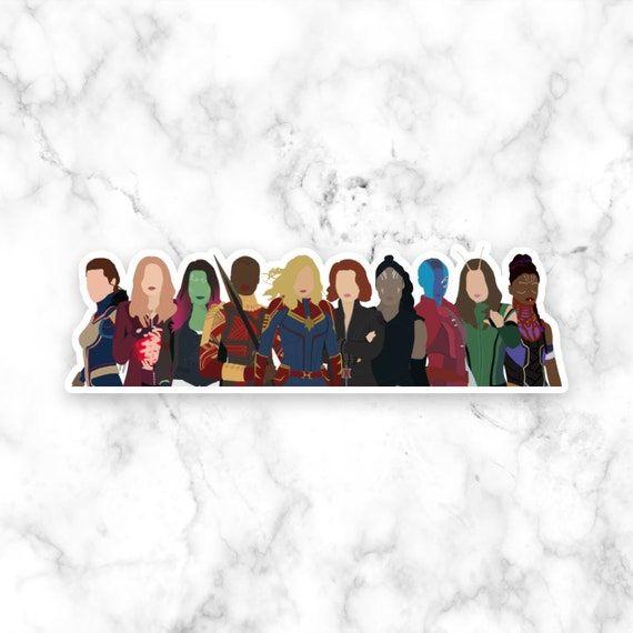 Female Avengers Full Team Sticker, Laptop Stickers, Decal, Girl Power, Notebook, Mac, Captain Marvel, Okoye, Black Widow, Endgame