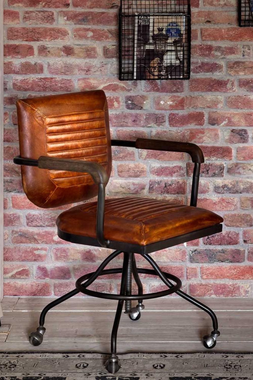 Industriedesign Drehstuhl Paddy In Braun Echtleder Hohenverstellbar In 2021 Drehstuhl Stuhle Schreibtischstuhl