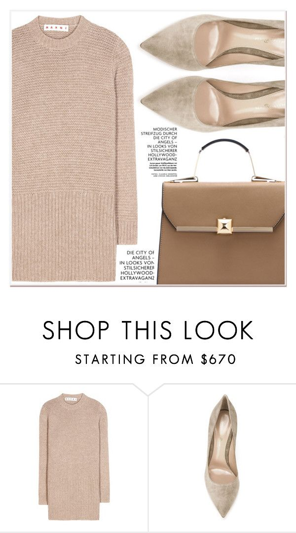"""Beige Motion"" by lucky-1990 ❤ liked on Polyvore featuring Marni and Gianvito Rossi"
