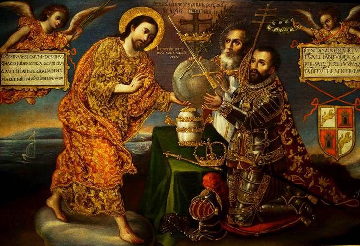 El arte virreynal de mexico y Peru. Alegoría del Nuevo Mundo. Cristo entregando el mundo al emperador romano Carlos V y al papa, 1721, óleo sobre tela