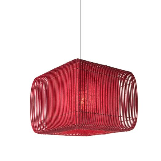 Square suspension lamp with shade constructed of colored rattan square suspension lamp with shade constructed of colored rattan vines tied on a wire frame on a powdercoated metal frame diffuser is made of handmade greentooth Gallery