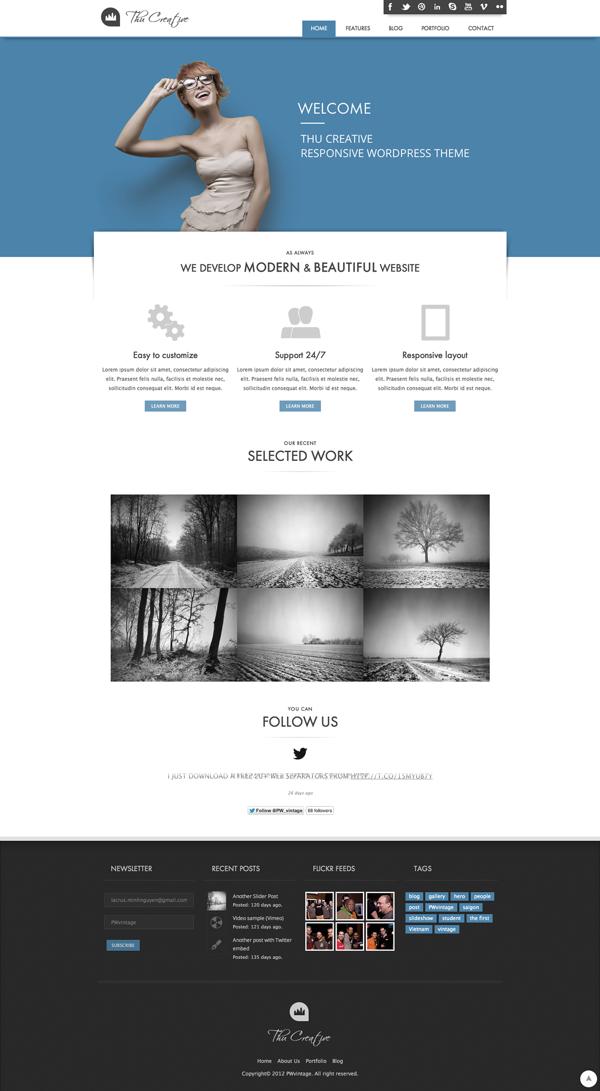 THU - Responsive Wordpress Theme by PWvintage Minh, via Behance ...
