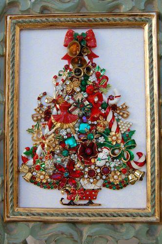 Vintage Jewelry Framed Christmas Tree Christmas Tree Art Jewelry Christmas Tree Jeweled Christmas Trees