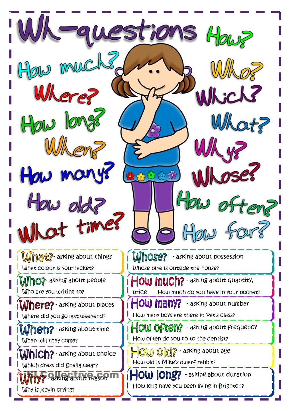 Questions - poster : FREE ESL worksheets #teaching # ...