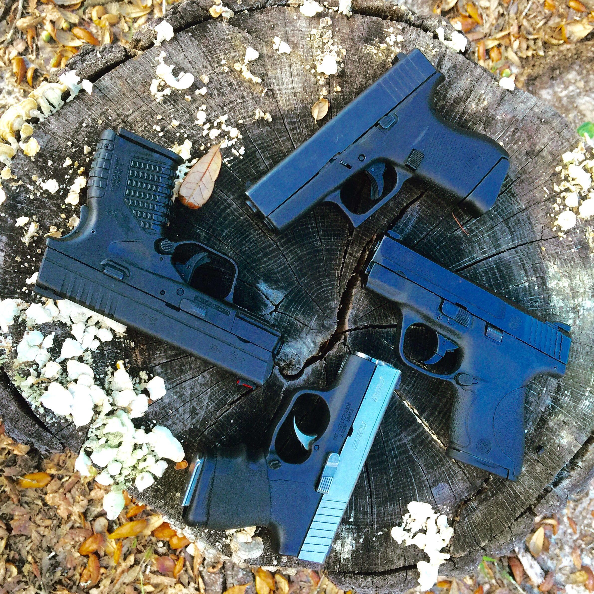 EDC 9mm handguns Kahr PM9, Smith and Wesson Shield, Glock 43