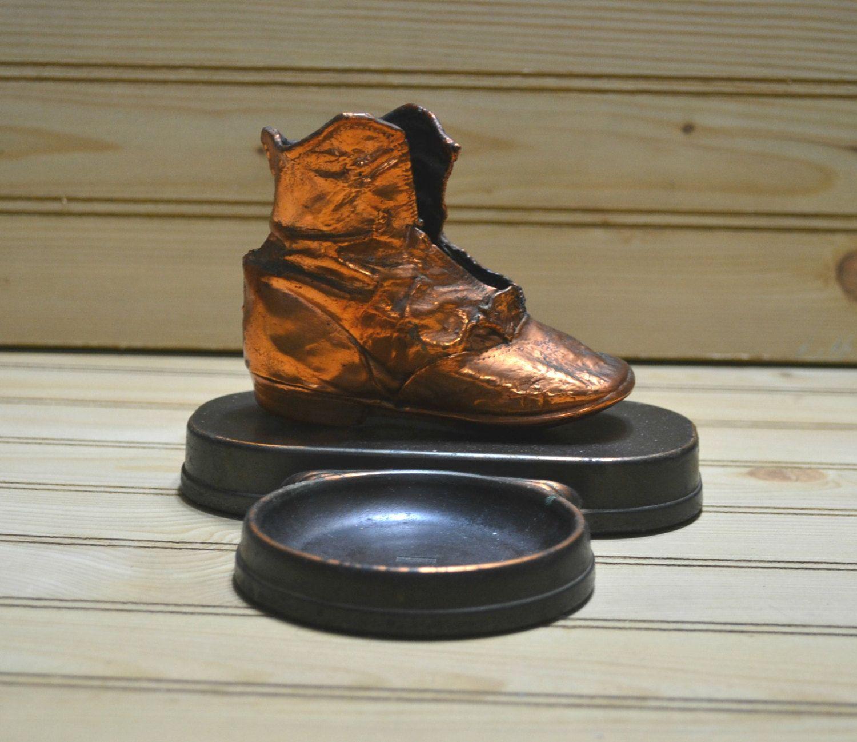 Vintage Bronzed Baby Shoe Change Trinket Dish L E Mason Boston Mass ...