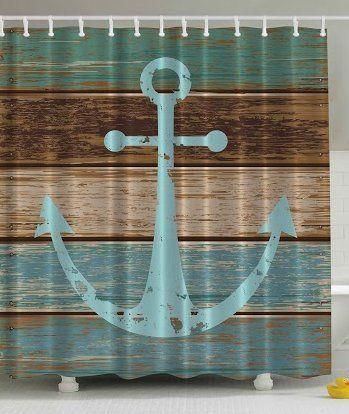 Amazon Com Ambesonne Nautical Anchor Rustic Wood Long Fabric Shower Curtain Fabric Shower Curtains Shower Curtain Polyester Nautical Bathrooms