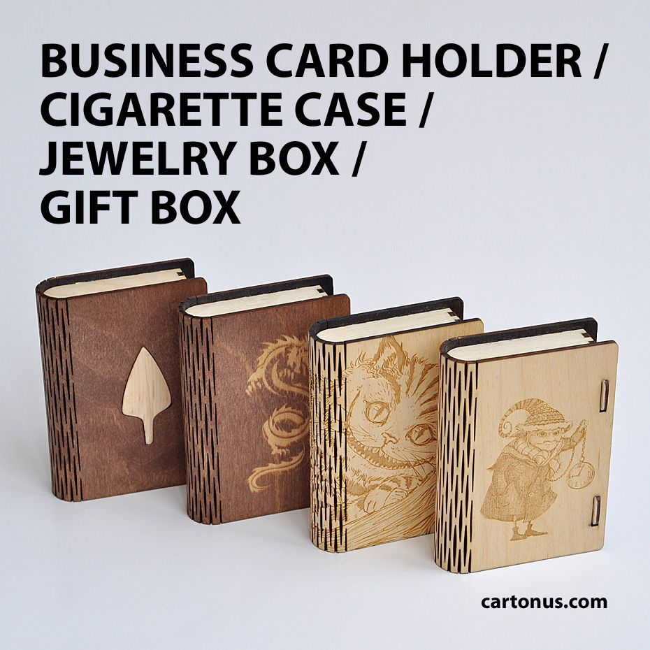 Wooden small box with sliding bolt latch laser cut vector model box business card holder reheart Images
