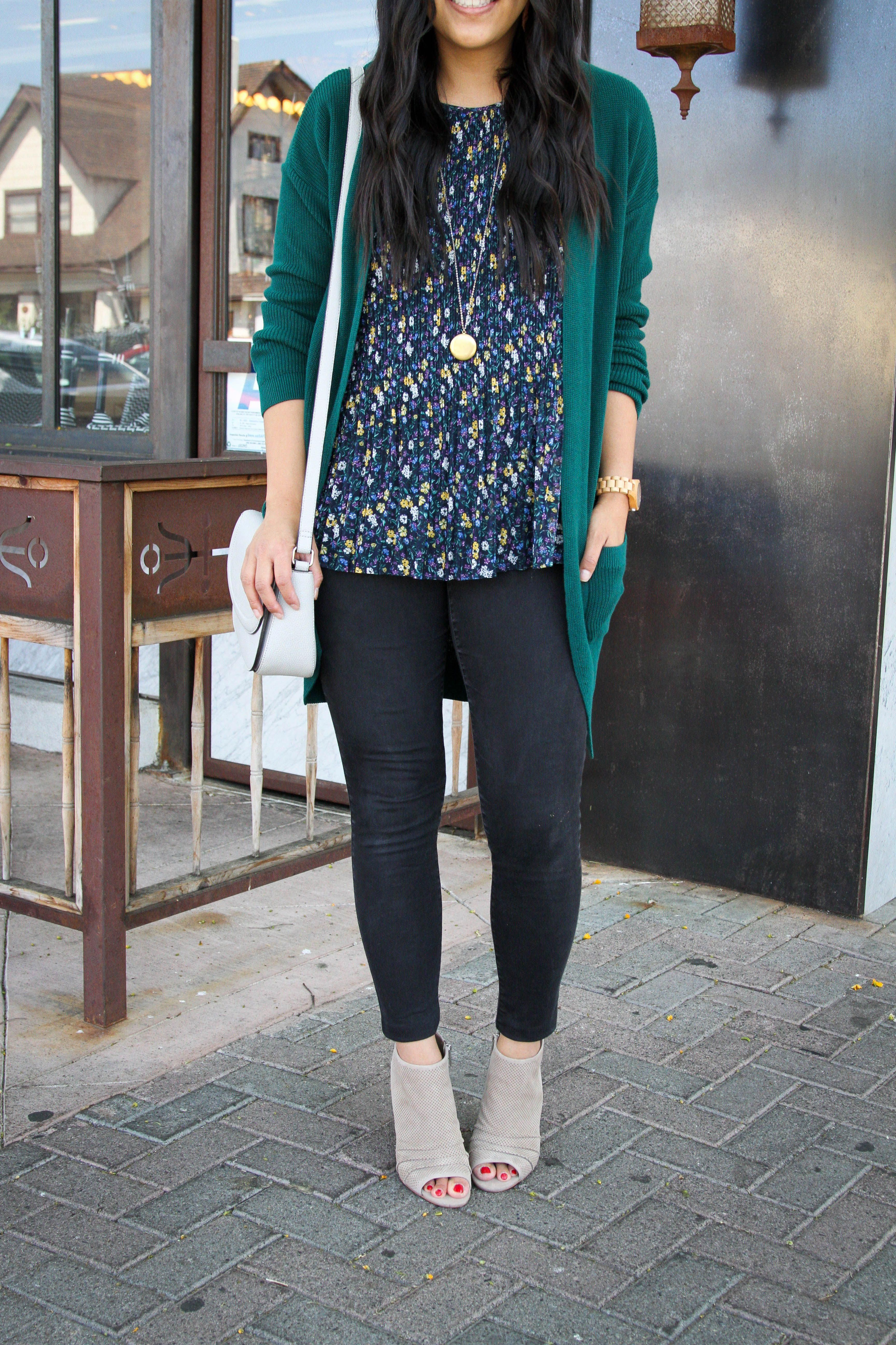 6f99cb298d1 Taupe Peep Toe Booties + Black Jeans + Floral Top + Green Cardigan   topfalloutfits