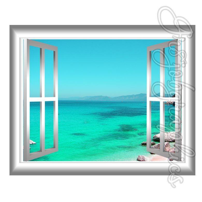 Blue Lagoon Wall Decal Crystal Clear Beach Scene 3d Window Frame