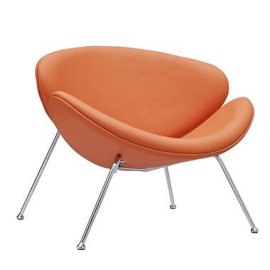 Nutshell Padded Vinyl Cushion Metal Legs Lounge Chair In