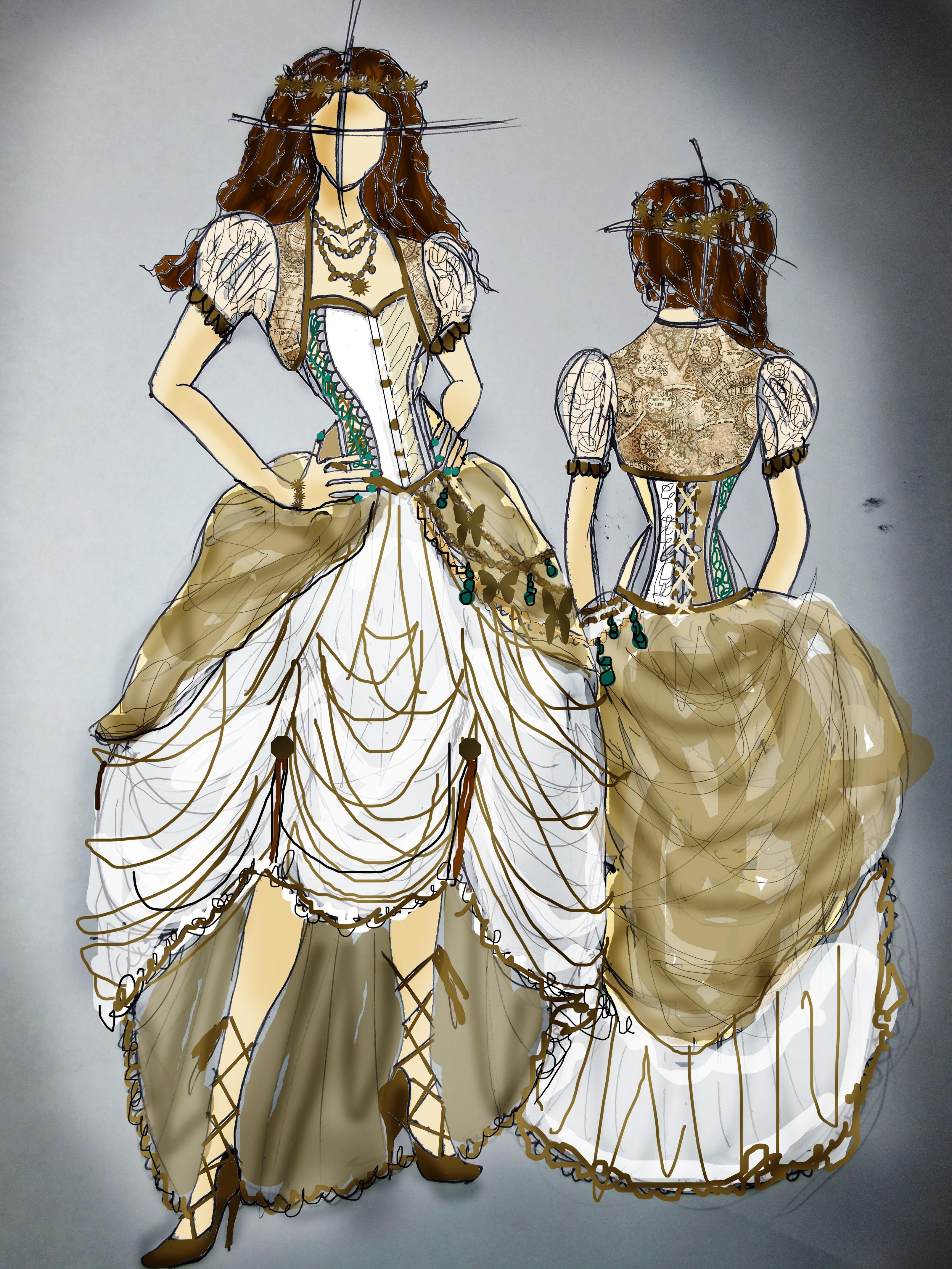 Steampunk wedding dresses  My wedding dress sketch Steampunk themed But practical and elegant