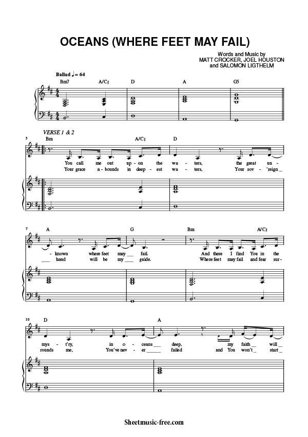 Oceans Sheet Music Hillsong United | Piano | Piano sheet