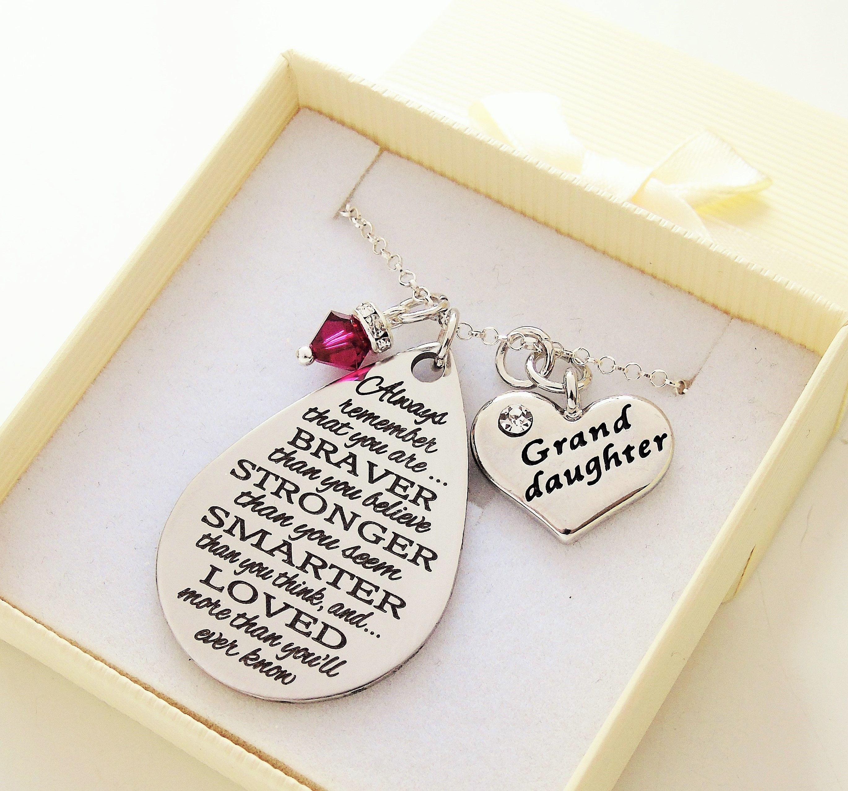 Granddaughter Gift Sterling Silver Swarovski Necklace For Birthday Christmas From Grandma Grandparents