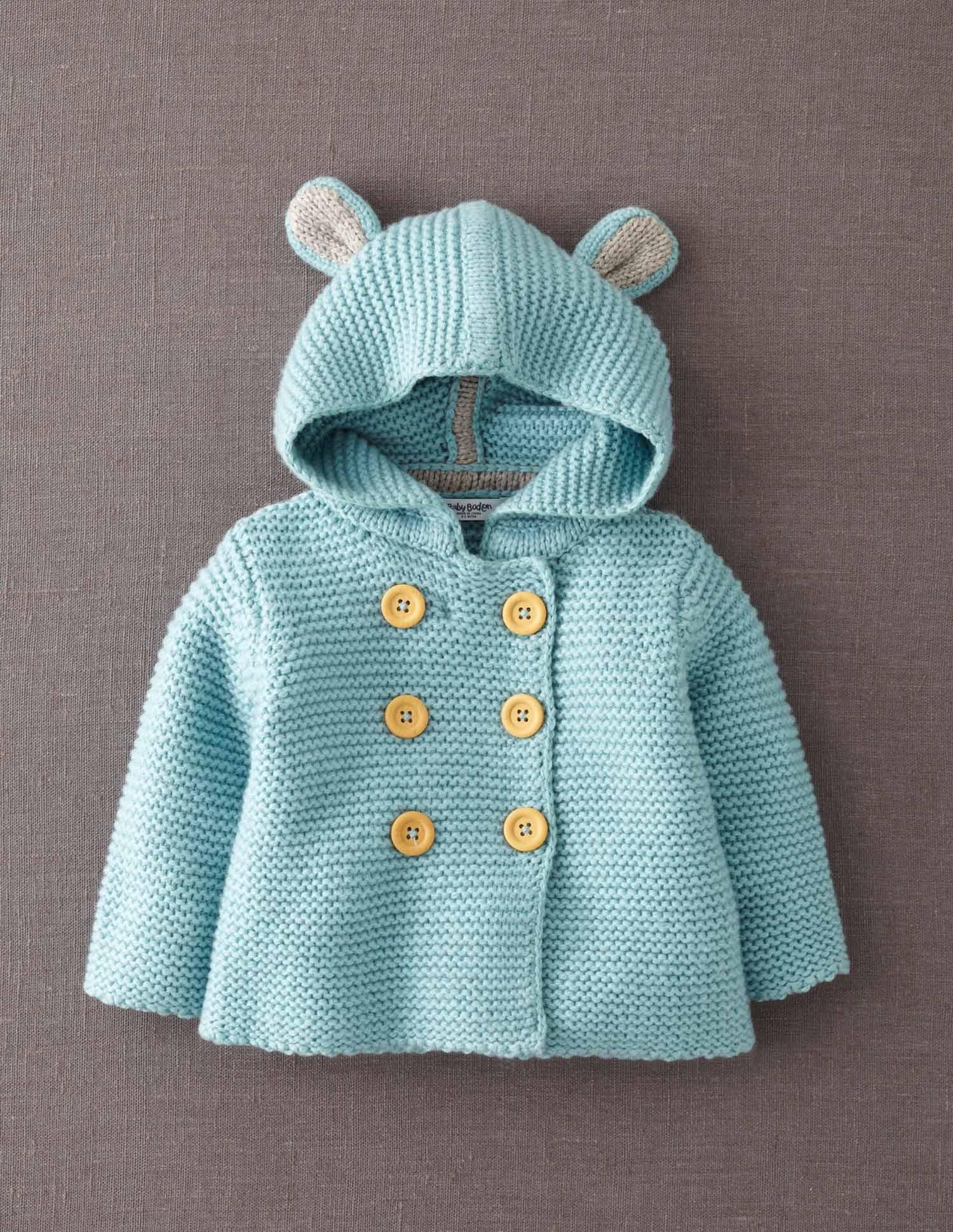 Baby Boy 3-6 Month Baby Gap Turquoise Knitted Garter Bear Hooded Sweater
