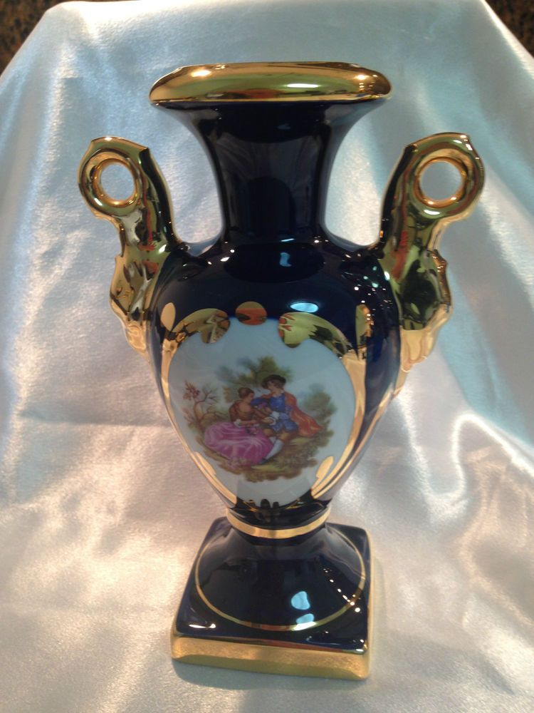 Limoges Porcelain Cobalt Blue Gold Handled Vase The Courting