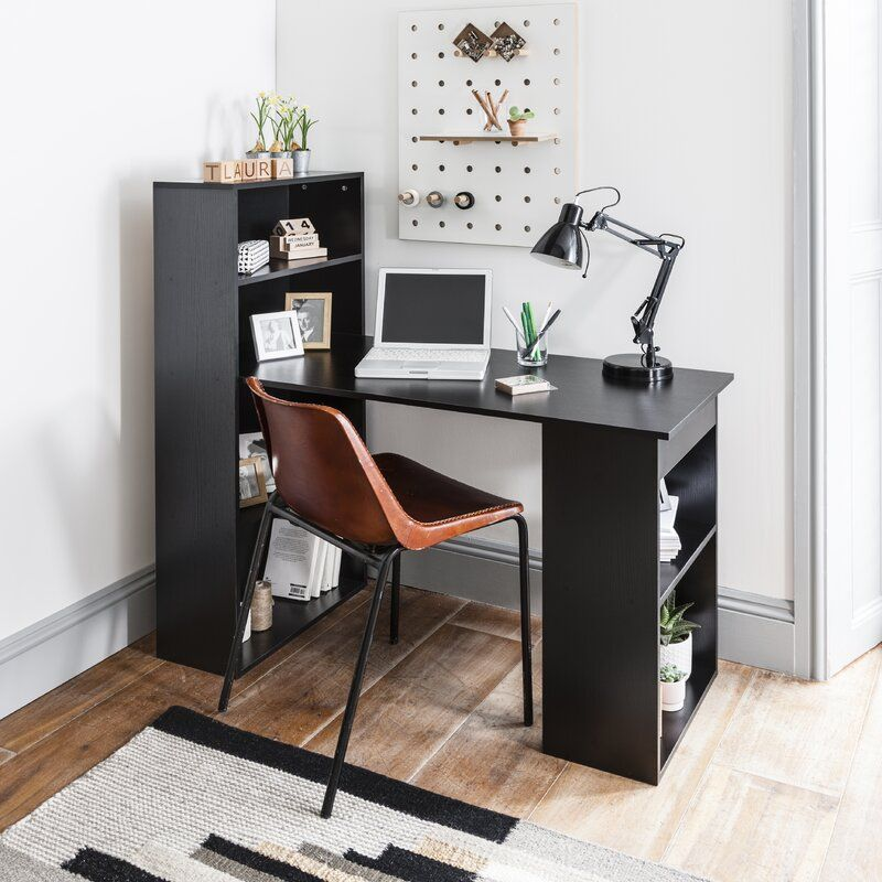 Brittney Computer Desk Black Desk Desk Shelves Retro Desk
