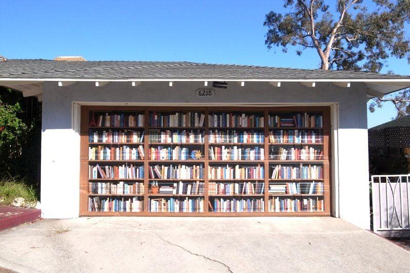 Bookshelves Painted On A Garage Door