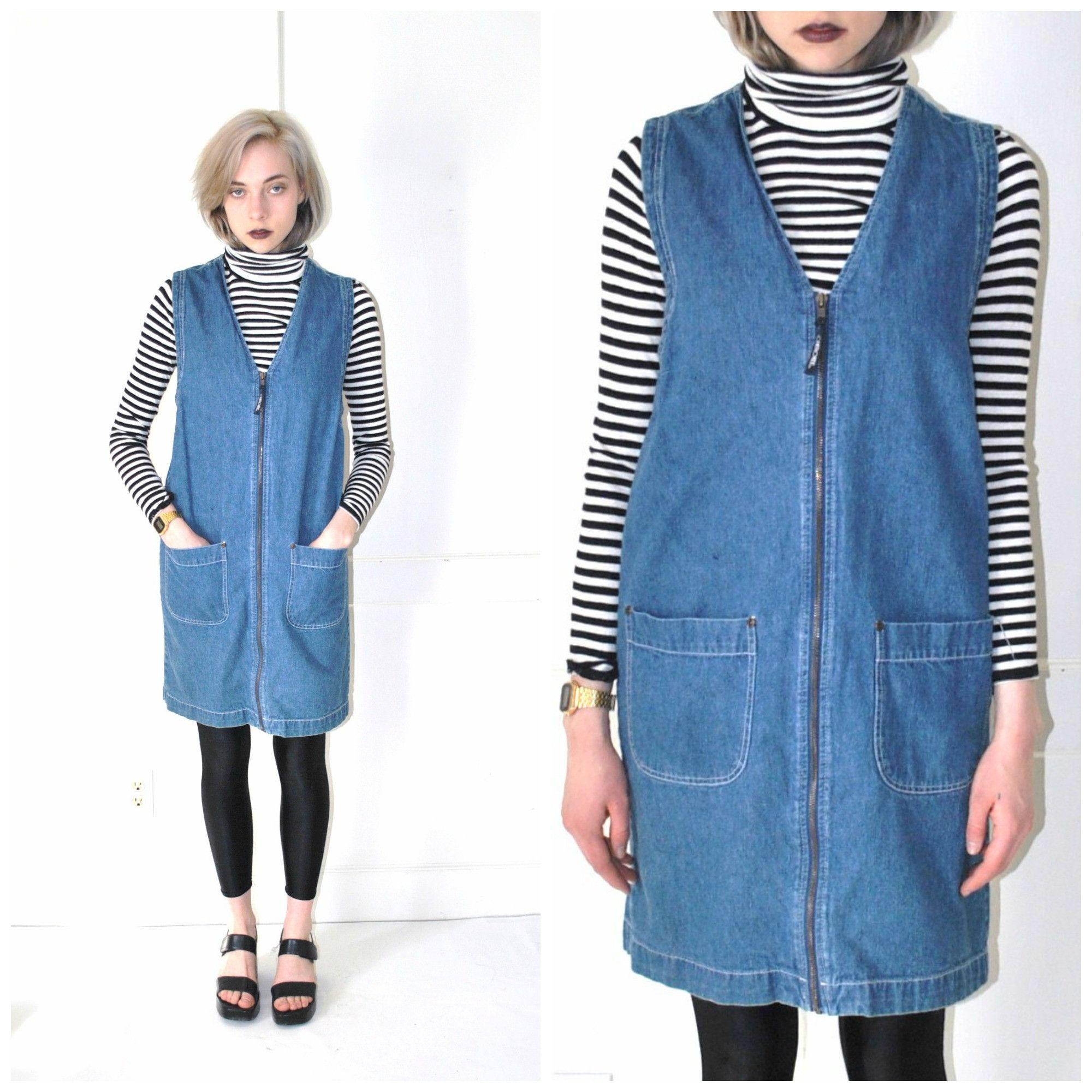 d10fc3157af early 90s DENIM zip up dress vintage 1990s grunge dresses MINIMAL hipster jean  dress small
