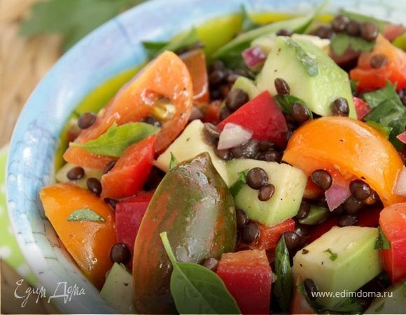 Салат из чечевицы с авокадо | Рецепт | Салат с чечевицей ...