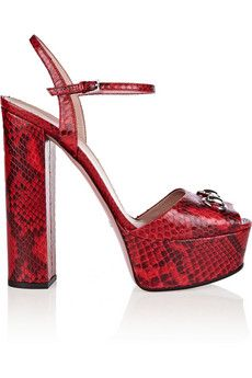 b47de298c8 Gucci Horsebit-detailed python platform sandals | NET-A-PORTER ...