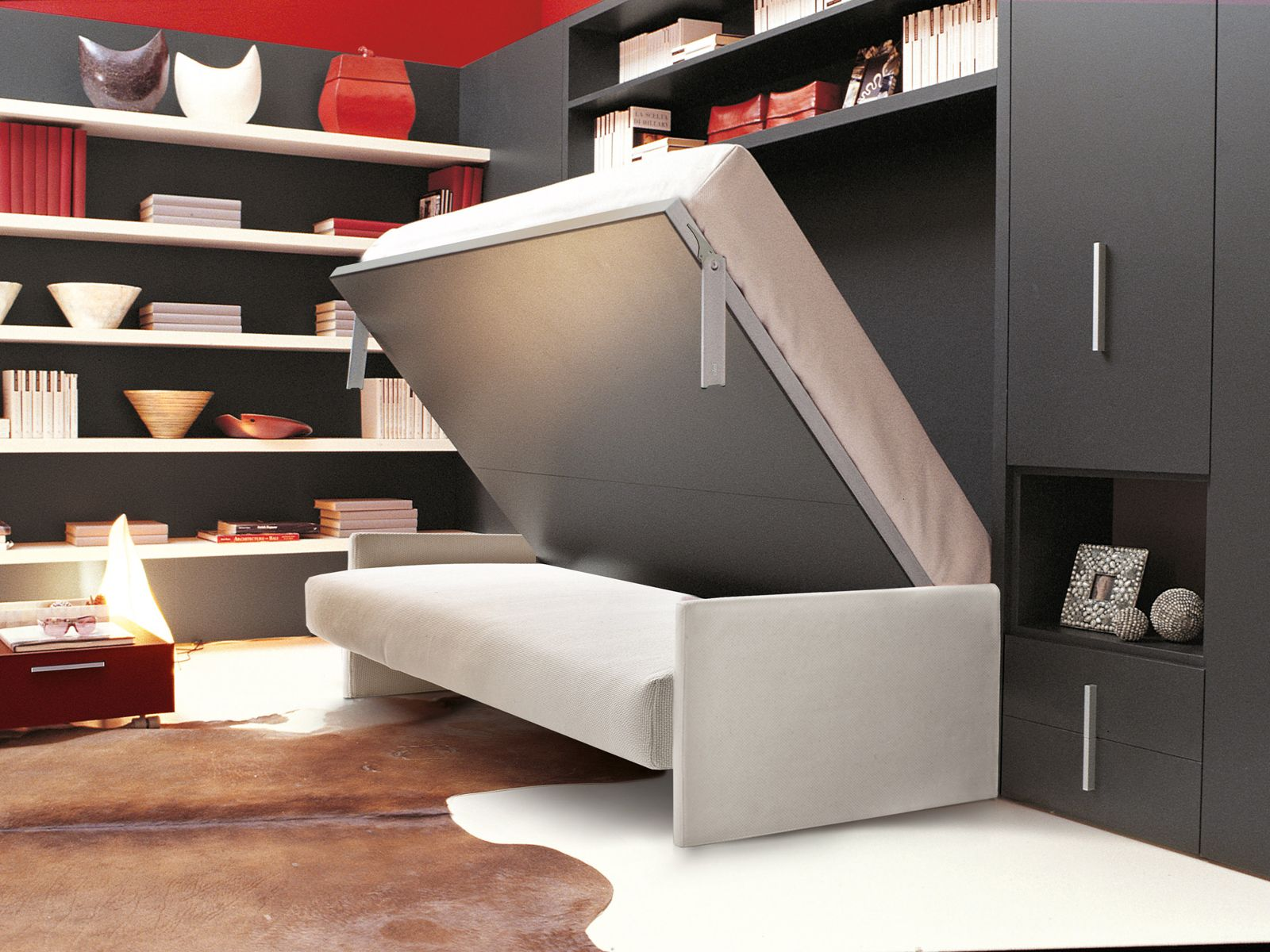 Mueble modular de pared con cama abatible CIRCE SOFA by CLEI