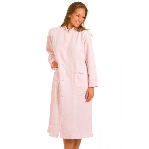 Pink Quilted Button Front House Coat Womens Lounger Robe $33.23