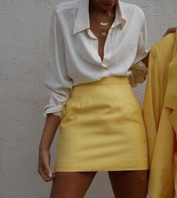 553492d77 Pinterest: SueThoughts Hippie Stil, Yellow Skirts, Yellow Mini Skirt, White  Skirts,
