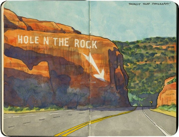 Tourist Trap Typography Near Moab Utah Sketch Book