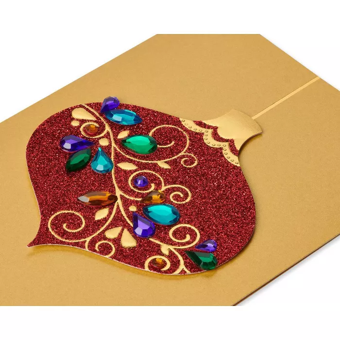 8ct Papyrus Red Glitter Gem Ornament Boxed Holiday
