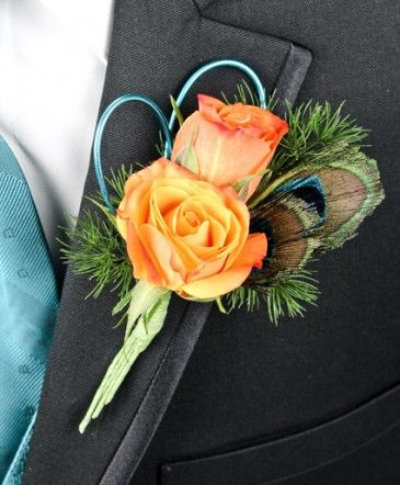 FLIRTATIOUS FEATHERS Prom Boutonniere in Coral Springs, FL - HEARTS & FLOWERS OF CORAL SPRINGS