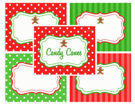 christmas printable labels food label tents by thatpartychick