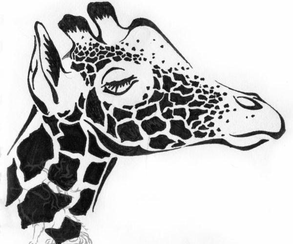 Amazing Tribal Giraffe Tattoo Design