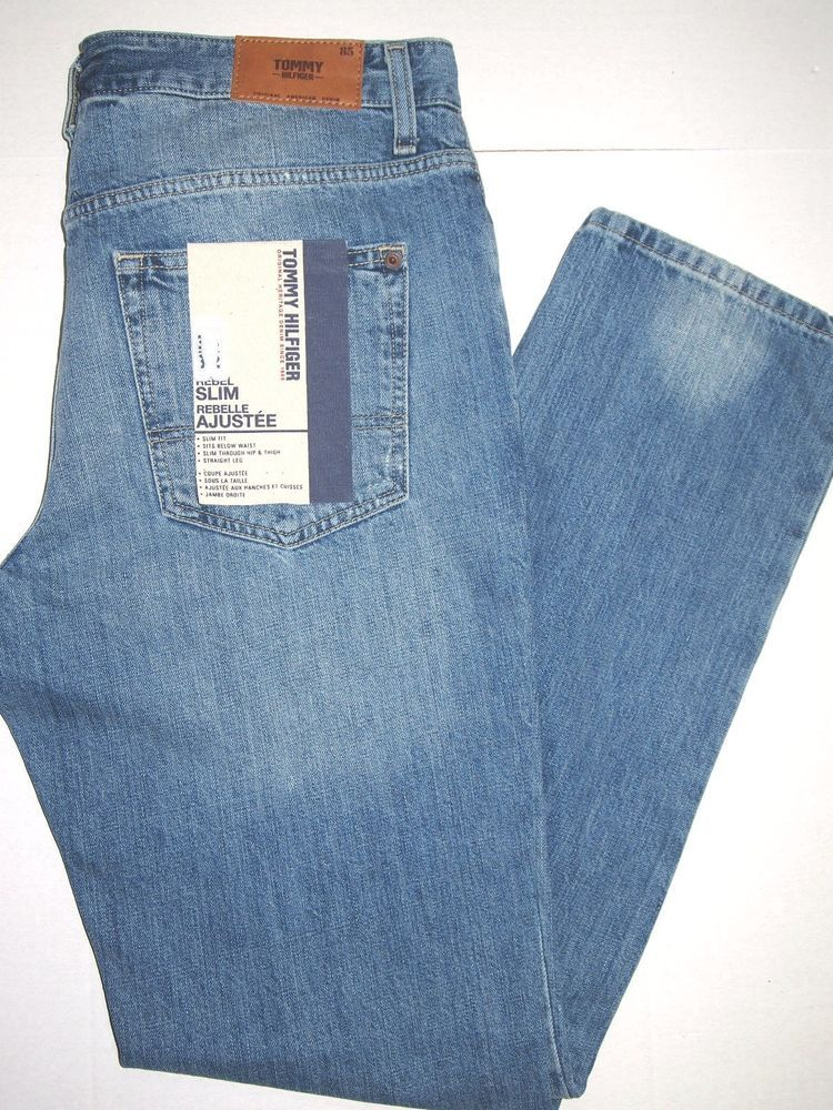 Tommy Hilfiger men's jeans, style name SLIM REBEL size 34x34 NEW on SALE #TommyHilfiger #SLIMFITStraightLeg