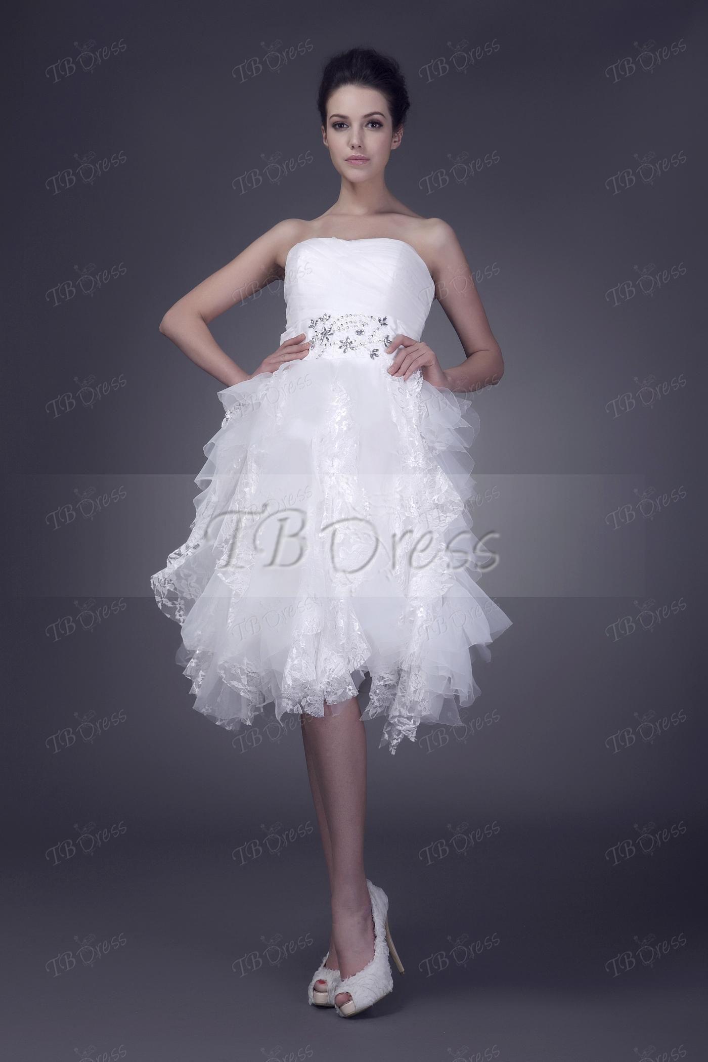 Short sweetheart ruffles dariaus lace wedding dress wedding dress