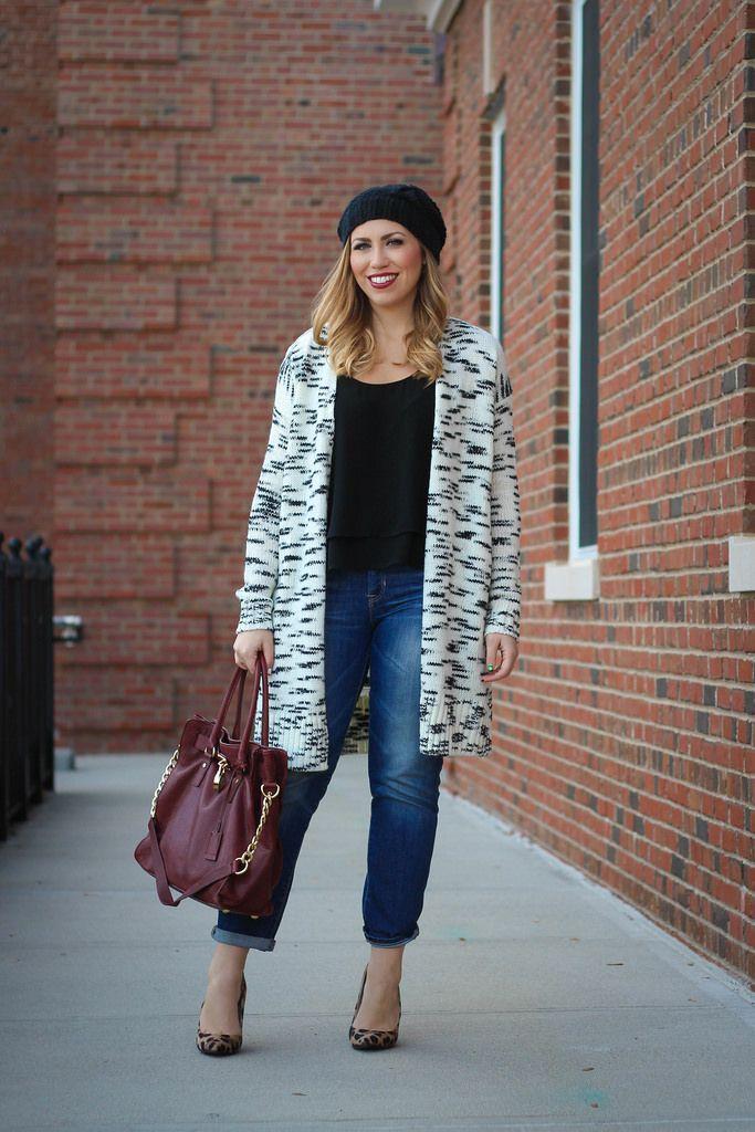 Loft Coatigan Boyfriend Jeans Leopard Pumps Fall Outfit
