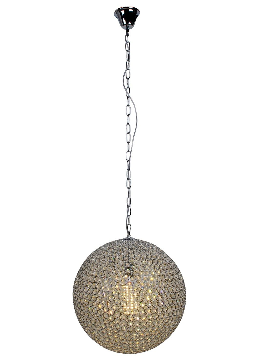 Gunna LED Ceiling Light Large. Add a touch of elegance to your interiors with the Gunna LED Ceiling Light exclusive to PAGAZZI Lighting. This modern and stylish ceiling pendant features tightly clustered glass crystals encrusted within a ball shaped frame. The pendant suspends from the ceiling on a chain and is finished in polished chrome. Perfect for placing in the living room or dining room.