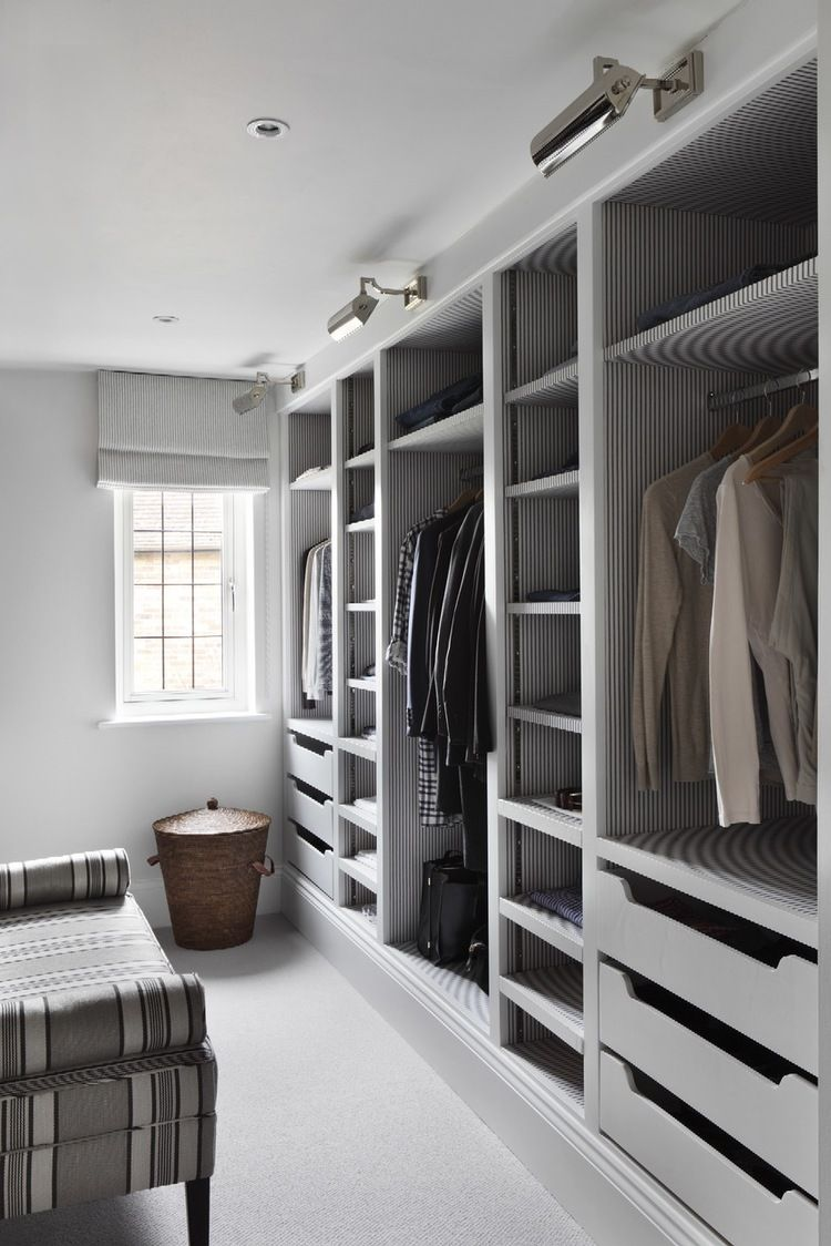lighting for closets. love the use of distinctive wallpaper and lighting in this custom closet for closets