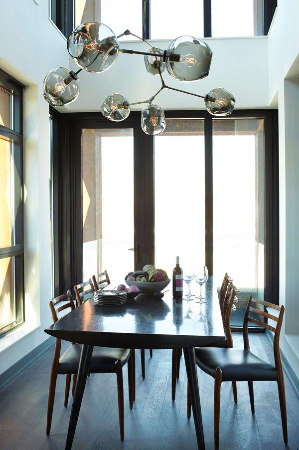 Athena Calderone dining room neutrals wood Linday Adelman pendant Bazaar Feb13
