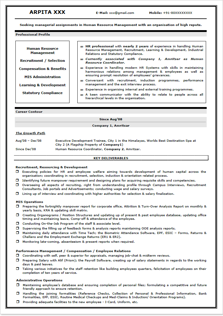 Sle Resume Format For Hr Freshers Dental Vantage News To Go 3