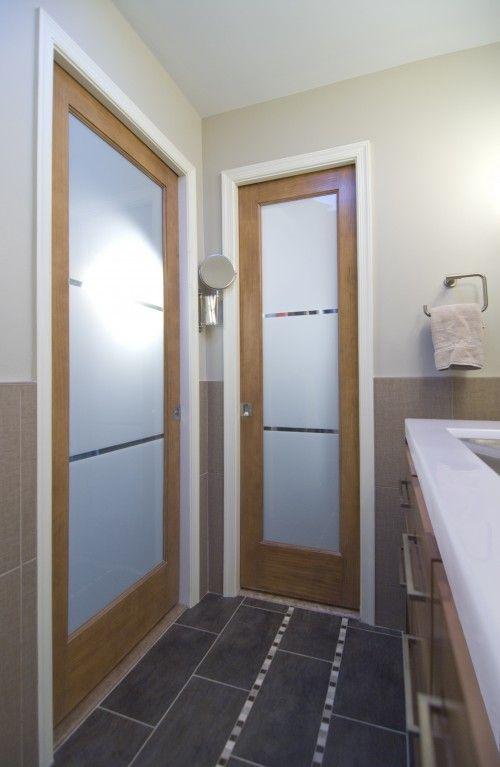 Frosted Glass Door For Erin S Bathroom May Help Get More Light Into Room Bathroom Doors Glass Pocket Doors Contemporary Bathroom