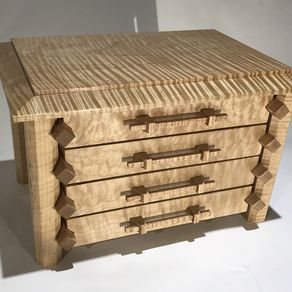 Pagoda Style Jewelry Box In Quilted And Curly Maple by Lucas Brown
