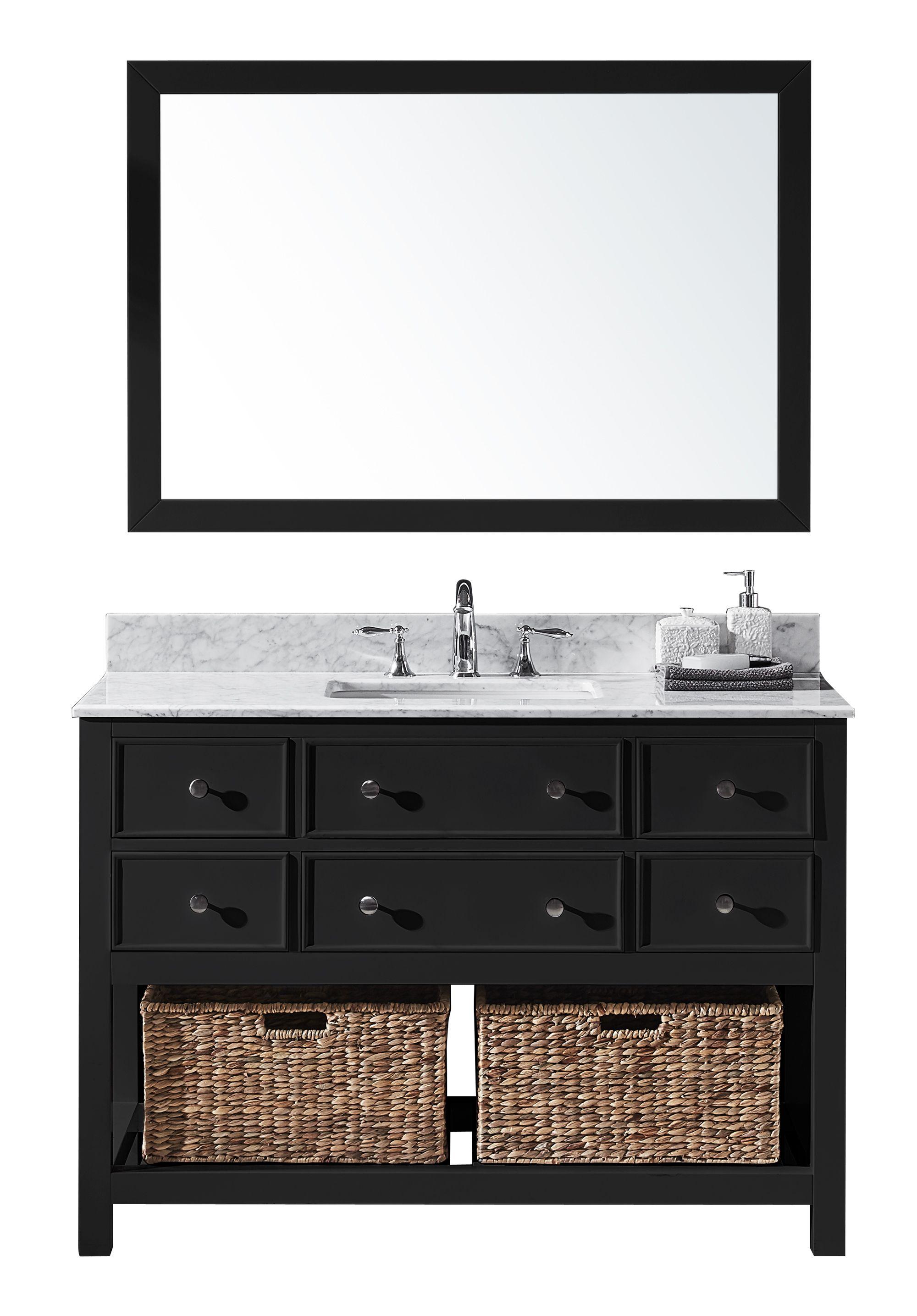 Exclusive Heritage Elodie 48 Single Sink Bathroom Vanity In Espresso With White Carrara Marble Top Bas Single Sink Bathroom Vanity Bathroom Vanity Mirror Set