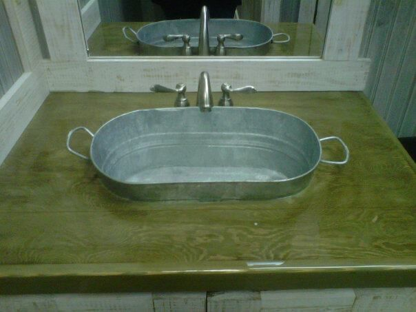 Great idea plumb the galvanized tub and seriously poly for Galvanized tub kitchen sink