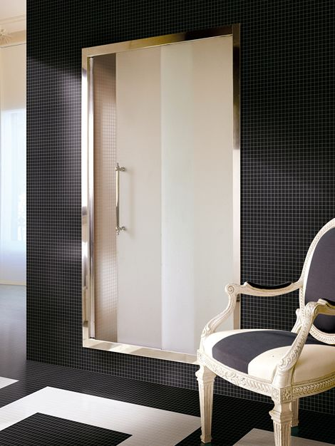 frosted glass shower door, awesome tile pattern floor and wall   Devon » Majestic