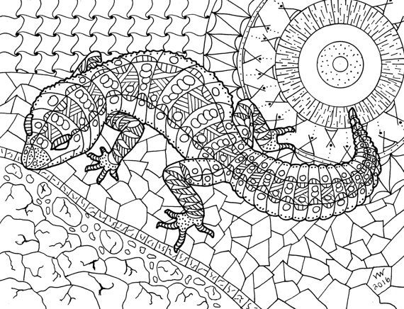 Coloring Page Zentangle Lizard Adult By Inspirationbyvicki On Etsy