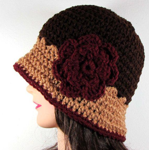 Womens Cloche Hut mit Blumen in Braun Camel Wein von ClocheCraze