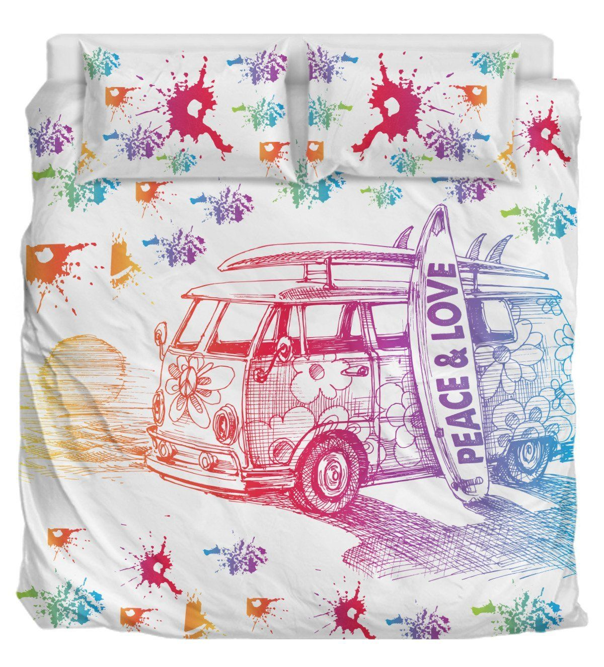 Hippie Peace And Love Hippie bedding, Peace and love