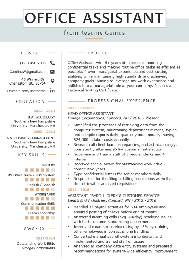 Office Assistant Resume Example Writing Tips Resume Genius In 2020 Office Assistant Resume Resume Skills Resume Writing Tips
